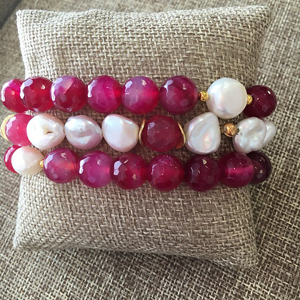Fuschia Agate Expandable with Pearl