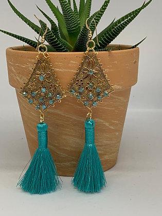Statement Chandelier Earrings with Teal tassels