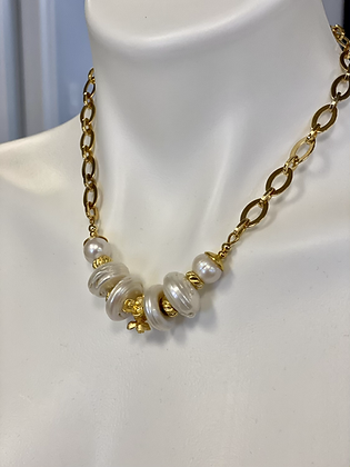 Coin Pearls with 24 Kt brush gold plated flowers