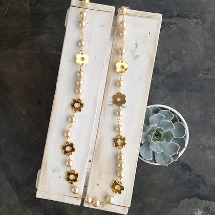 Faux Pearls with Brass Flowers