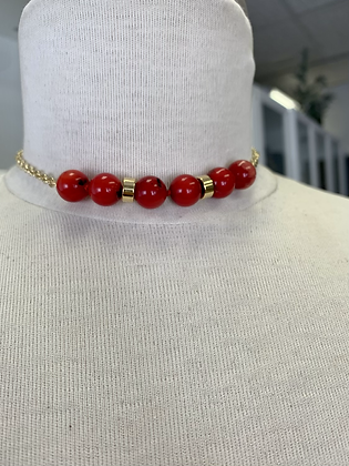 Red coral and gold choker