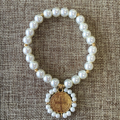 Faux Pearl Expandable with Mexican Medallion