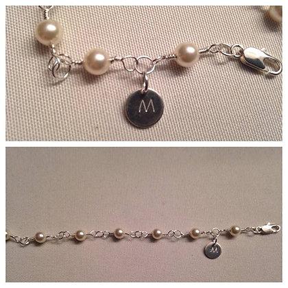 Swarovski Pearl wire wrapped Bracelet w/ Monogram