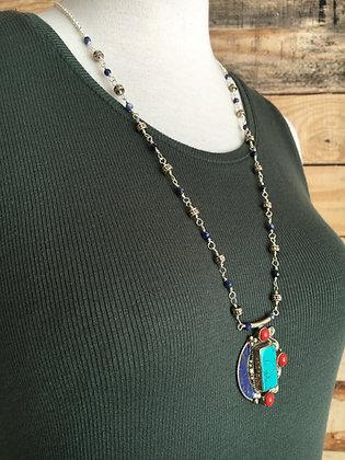 Tibetan Turquoise, Coral, Lapis Pendant
