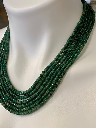 Mini Faceted Emerald Six Strand Necklace