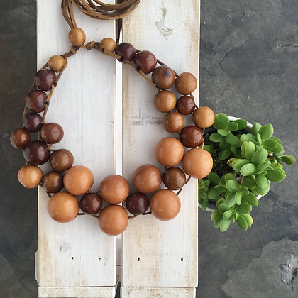 Natural Tagua Seeds Woven with Suede