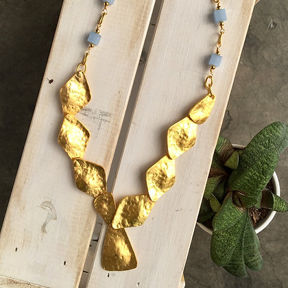 Blue Cubed Geometric Brass Hammered Necklace