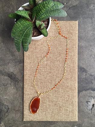 Long Carnelian Pendant Necklace