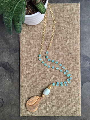 Pendant Necklace in Jasper and Aqua Chalcedony