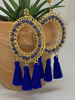Statement Chandelier Earrings with Sodalite and Blue tassels