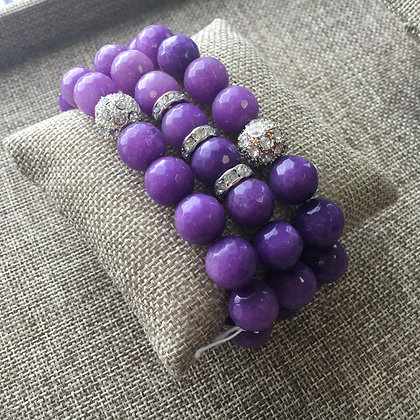 Purple Agate with Pave Expandable Set