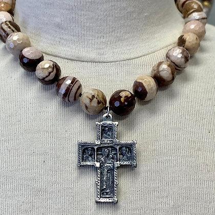 Zebra Jasper with  cross from Santiago de Compostela