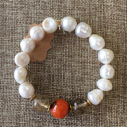 Freshwater Pearl and Carnelian Expandable