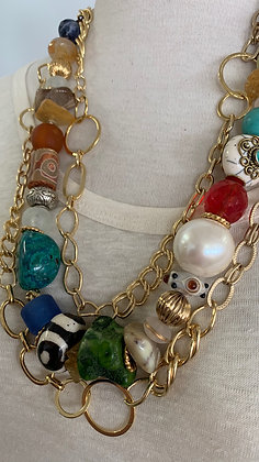 Multi chain and multi-Gemstone necklace
