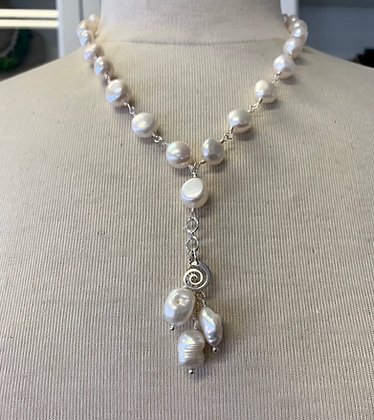 Y Freshwater Pearl necklace, pearls and charms necklace,