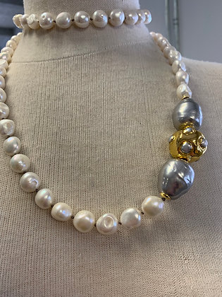 Pearls with gold accent piece and grey Majorca pearls