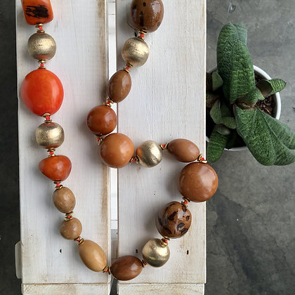 Natural Tagua Seeds in Earth Colors Necklace