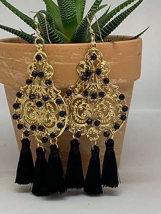 Statement Chandelier Earrings with Onyx and Black tassels