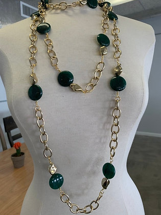NYC Chain Collection with Green Coin shaped Jasper beads