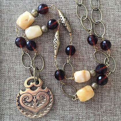 Brass and Carved Glass Long with Pendant