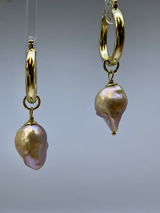Gold filled hoops  with Baroque Pearls