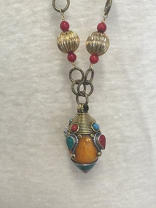 Amber Oblong Pendant