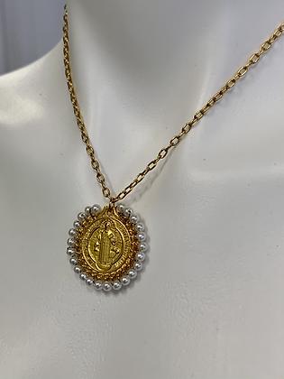 San Benito medallion with Swarovski Pearls