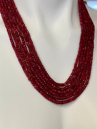 Mini Faceted Ruby Six Strand Necklace