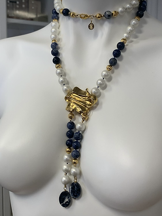Long necklace, y necklace, pearl and Sodalite necklace