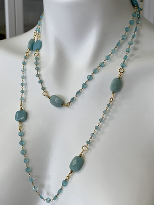 Chalcedony long necklace with vintage pendant
