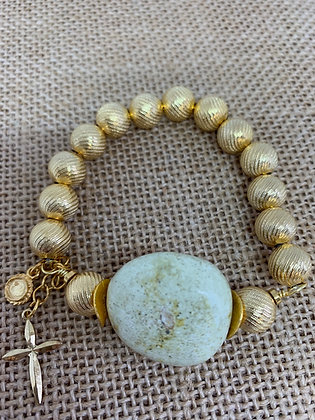 Bracelet stretch with gold beads and Turquoise one of a kind
