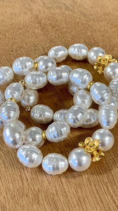 Pearls and Gold bracelet set