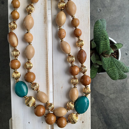 Tagua Seeds with Golden Metallic Beads Necklace