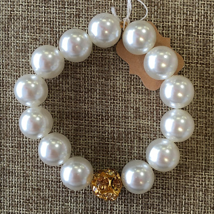 Faux Pearl with Gold Pave Insert Expandable