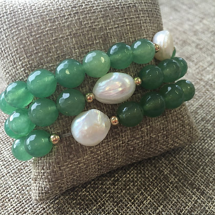 Green Agate with Pearl Expandable Set One of a Kind