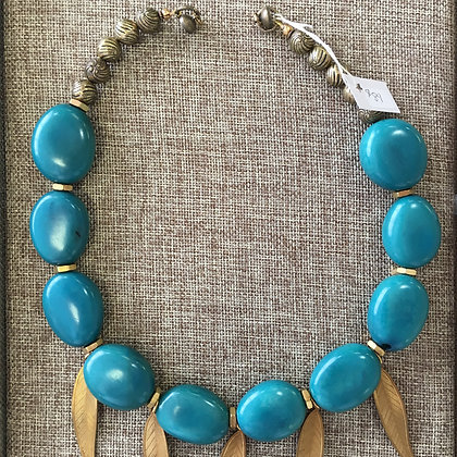 Turquoise Tagua Seed with Leaf Accent