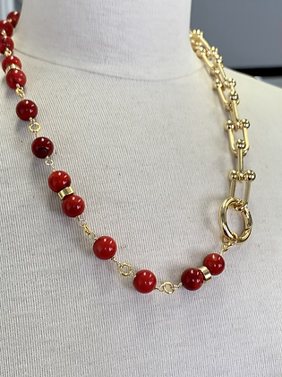 Red Coral with U chain necklace