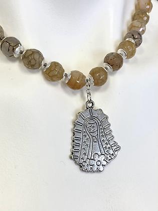 Rutilated quartz necklace with virgen charm