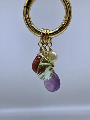 Gold filled hoop with tear drop gemstones