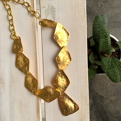 Geometric Brass Hammered Necklace