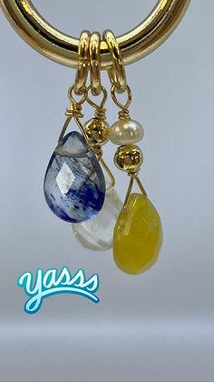 Gold filled Hoop with gemstones