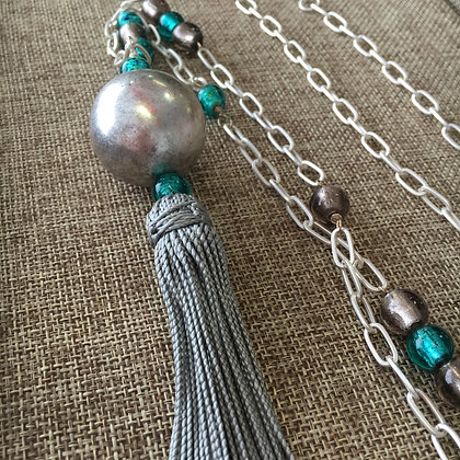 Grey and Green Glass Beads with Tassel