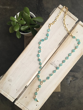Y necklace in Sea Foam Chalcedony