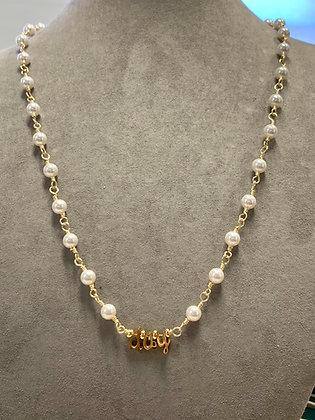 Cursive initials with Swarovski pearls