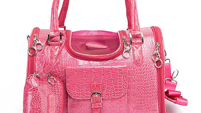 Travel Leather Handbag for Small Pets