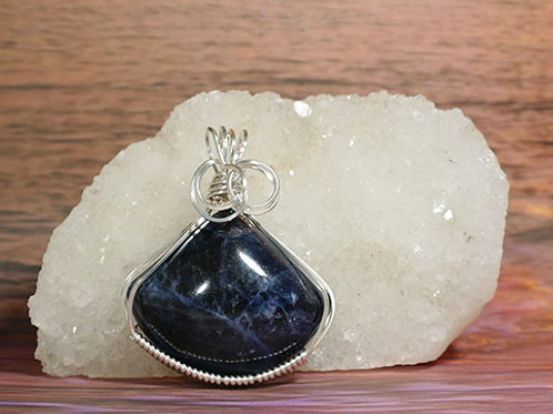 Sodalite Wire Wrapped Pendant  - Calming