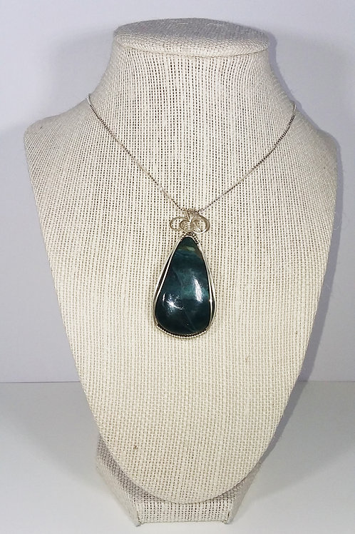 Green Ocean Jasper Wire Wrapped Pendant -Helps to heal past emotions