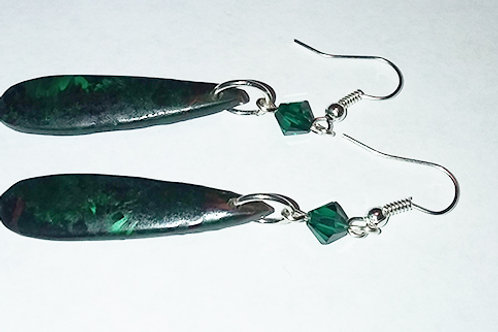 Malchite Sterling Silver Earrings with Swarovski Crystals