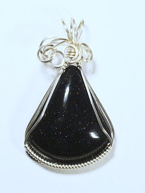 Blue Goldstone Wire Wrapped Pendant - Strengthens chi and the inner self