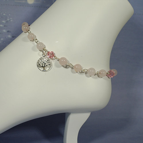 Rose Quartz with Swarovski Crystals Ankle Bracelet - Love